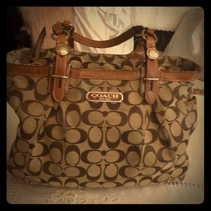 Vintage Coach handbag - canvas with leather trim